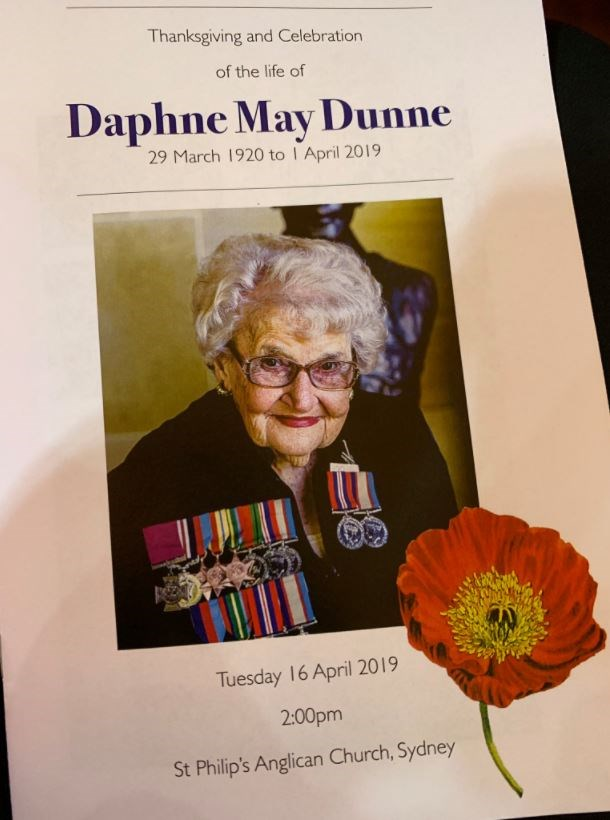 The order of service for Daphne Dunne. *(Source: @ByClare/Twitter)*