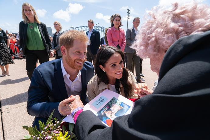 Prince Harry and his wife, Duchess Meghan Markle meet Daphne. *(Source: Getty Images)*