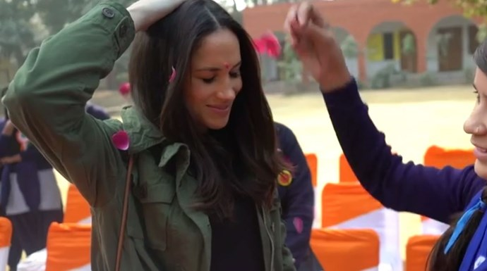 Meghan is seen experiencing beautiful elements of Indian culture in the footage. *(Image: ITV)*