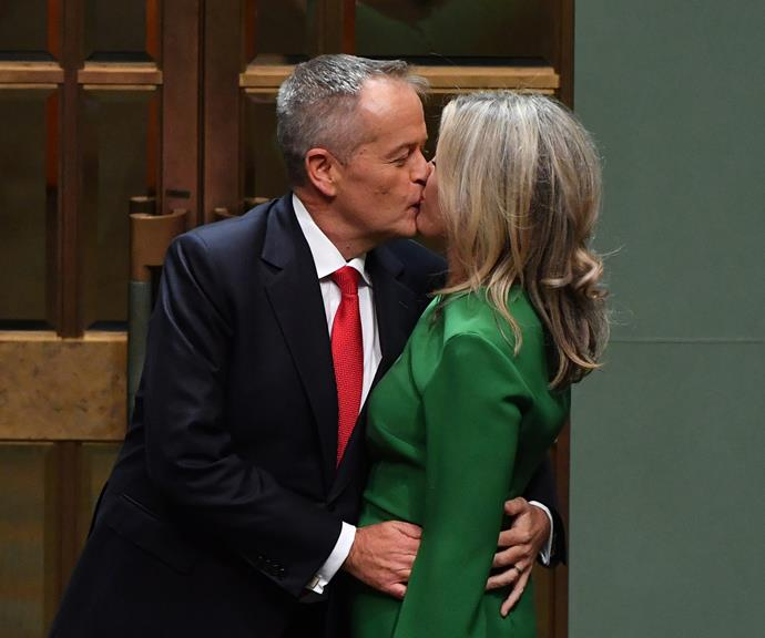 These two are just too cute! Bill and Chloe sharing a smooch after his Budget Reply speech earlier this month. *(Image: Getty)*