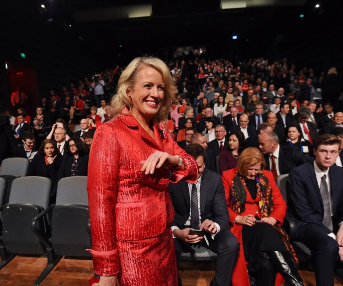 Wearing classic Labor red to the party's annual conference. *(Image: Getty)*