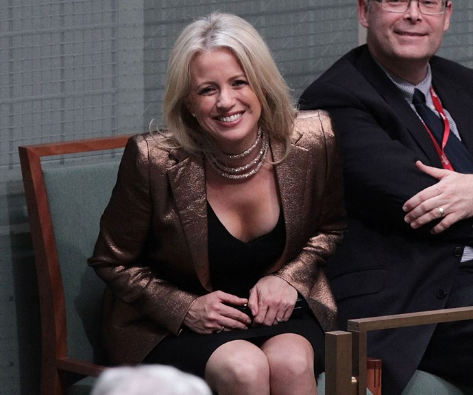 """At first glance this necklace doesn't look like much, but it accidentally landed Chloe in a lot of trouble. She wore this glitzy outfit to watch Bill Shorten's 2017 budget reply speech and was criticised for her glamorous look, with many claiming she appeared """"out-of-touch"""" to everyday Australians. Turns out the necklace was a cheap purchase from her local shopping centre. *(Image: AAP)*"""