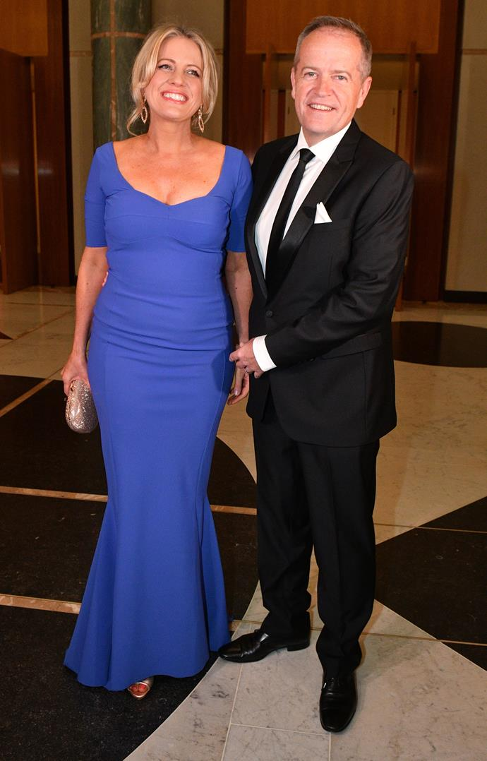 Chloe and Bill out for a very glamorous date night at the 2018 Midwinter Ball at Parliament House. *(Image: Getty)*
