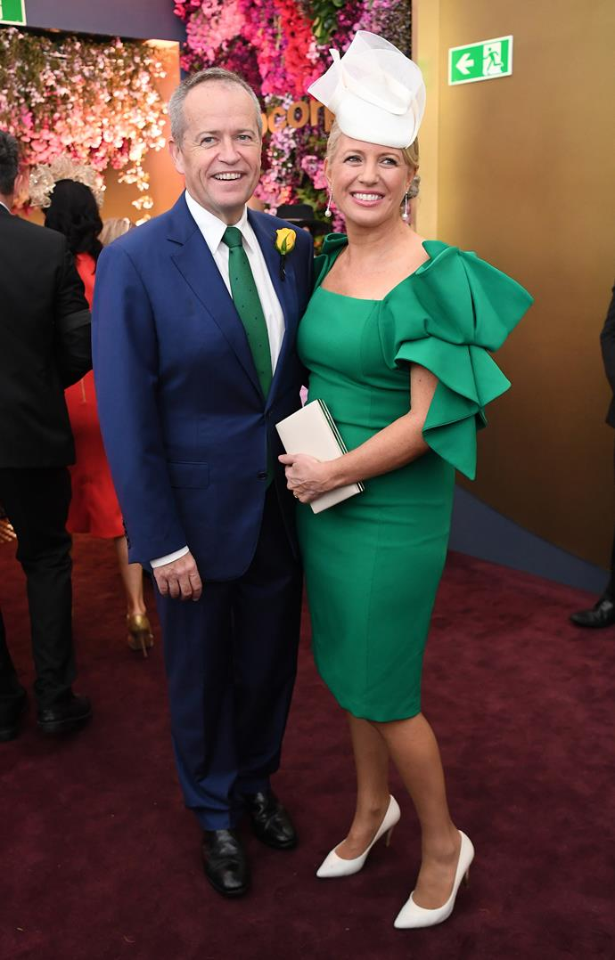 "Off to the races: Chloe and Bill shorten at the 2018 [Melbourne Cup.](https://www.nowtolove.com.au/tags/melbourne-cup|target=""_blank"") Love that he matched his tie to her dress! *(Image: Getty)*"