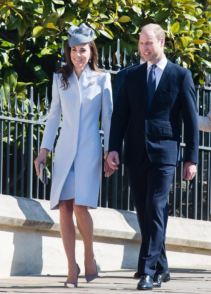 Duchess Catherine and Prince William arrive for Sunday Easter service at St George's chapel. *(Source: Getty Images)*