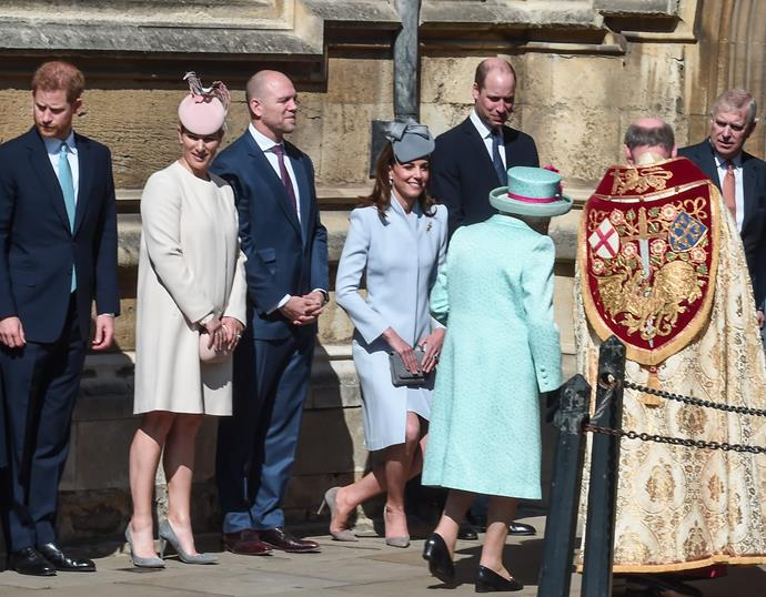 Duchess Catherine's beautiful curtsy to her Majesty outside St George's chapel. *(Source: Getty Images)*