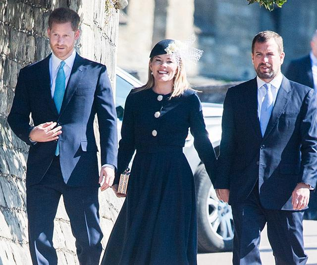 An interesting new combination: Prince Harry walked into church with cousin Peter Phillips and his wife Autumn. *(Image: Getty)*