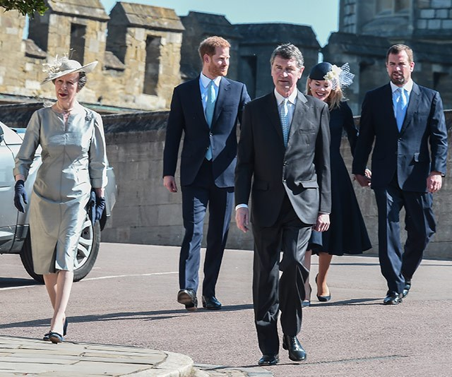 Princess Anne and her husband Vice Admiral Sir Timothy Laurence also joined Harry's procession. *(Image: Getty)*