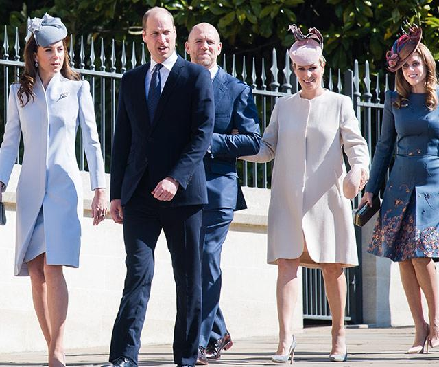 Duchess Catherine and Prince William entered the service with Mike and Zara Tindall and Princess Beatrice. *(Image: Getty)*