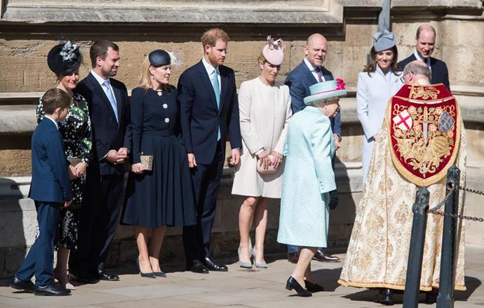 Harry, Kate and William usually all stand together in family line-ups, but on Sunday they were miles apart as they waited to greet The Queen. *(Image: Getty)*
