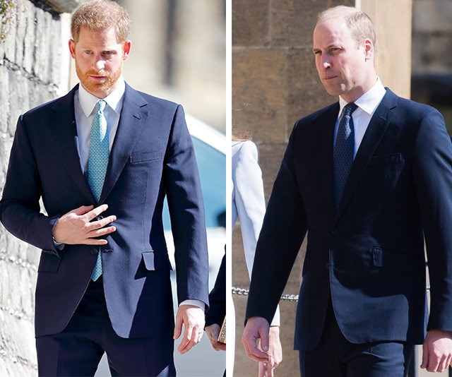 A body language expert has revealed Harry looks noticeably uncomfortable around Prince William. *(Images: Getty)*