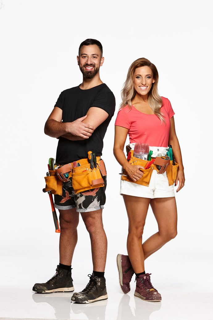 """**PETE & COURTNEY, MARRIED, VIC**  <br><br> Dance teachers Pete, 32, and Courtney, 31, bring more than a killer samba to the competition – they come with one of the biggest houses the show has ever seen.  <br><br> The pair, who live in a """"huge brown-brick '80s mega-mansion"""", are no strangers to renovations, having once managed to flip a three-bedroom apartment in two weeks!   <br><br> But don't expect them to do anything in the competition quietly, with Pete admitting his biggest weakness is """"not being able to bite my tongue""""."""