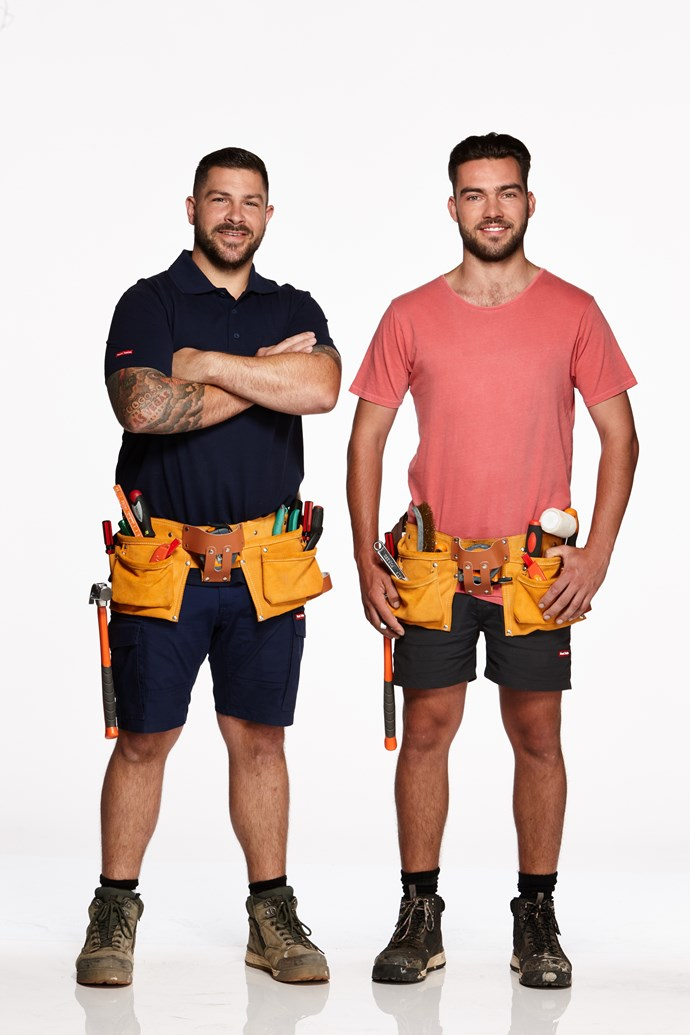 """**TIM & MAT, BROTHERS, VIC**  <br><br> Chippies Tim, 32, and Mat, 27, declare they have no intention of losing. In fact, they believe they're the """"winning combination"""". <br><br> """"We've renovated before,"""" Tim says. """"We've done it together to a high standard and are confident in what we do."""" <br><br> Despite having different dads, the brothers are close. """"We don't use the word 'half',"""" Mat says.  <br><br> """"He's always been my brother since I was born,"""" joking that he is, however, the """"better looking"""" sibling."""