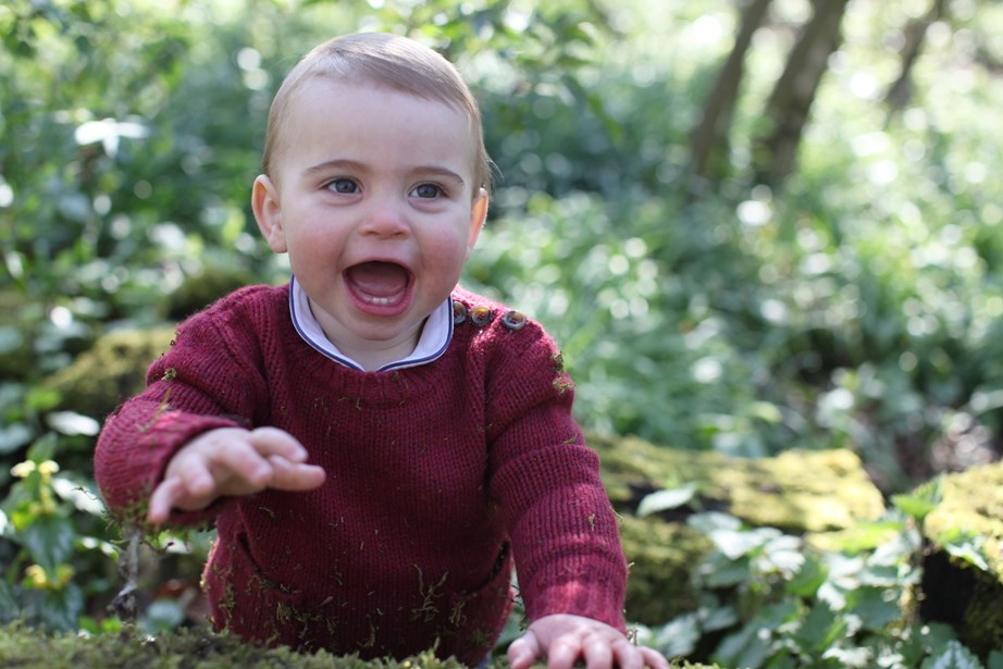 He young prince flashed a smile at his mum, Kate, who took the adorable snaps. *(Image: Duchess of Cambridge via Getty)*