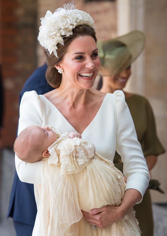 Prince Louis' christening last year was one of the few times we've see the new young royal up-close. *(Image: Getty)*