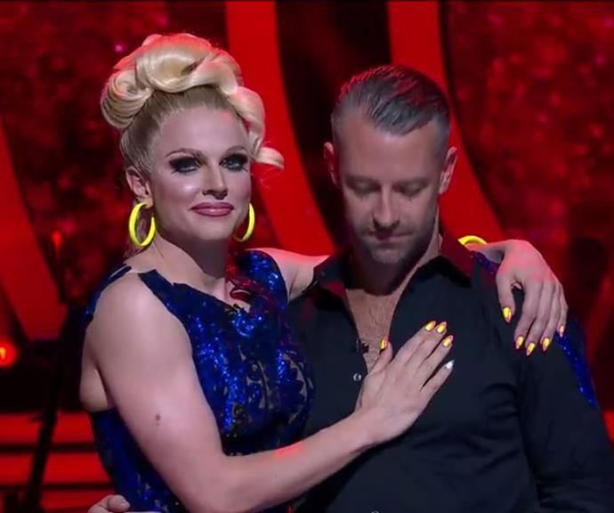 Courtney and Josh just before the winner was announced. *(Image: Channel 10)*