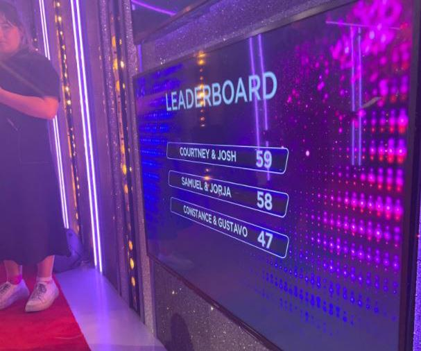Courtney and Josh were on top of the leaderboard at the end of the show. *(Image: Channel 10)*