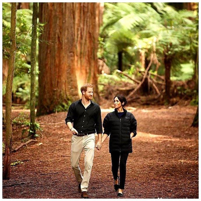 Prince Harry and his wife, Duchess Meghan walking in Rotorua, New Zealand. *(Source: Instagram/@sussexroyal)*