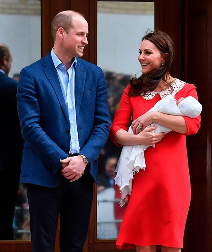 Where it all began! Prince Louis was debuted to the world at just seven hours old as his proud new parents celebrated their newest family member. *(Image: Getty)*