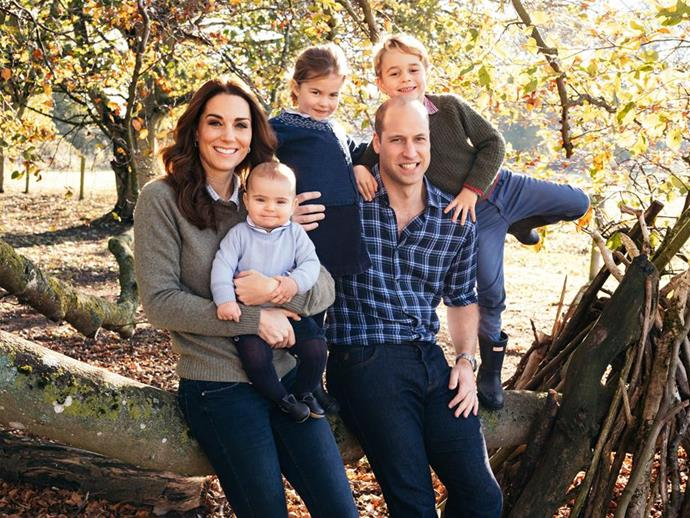 "In December 2018, the Cambridge family shared a brand new photo as their [official Christmas card](https://www.nowtolove.com.au/royals/british-royal-family/royal-christmas-card-photo-2018-53117|target=""_blank"") for the year. In a rare display of informality, the family-of-five were dressed casually in jeans and sitting on a tree trunk outside their country home in Norfolk. *(Image: Matt Porteous / PA / Kensington Palace)*"