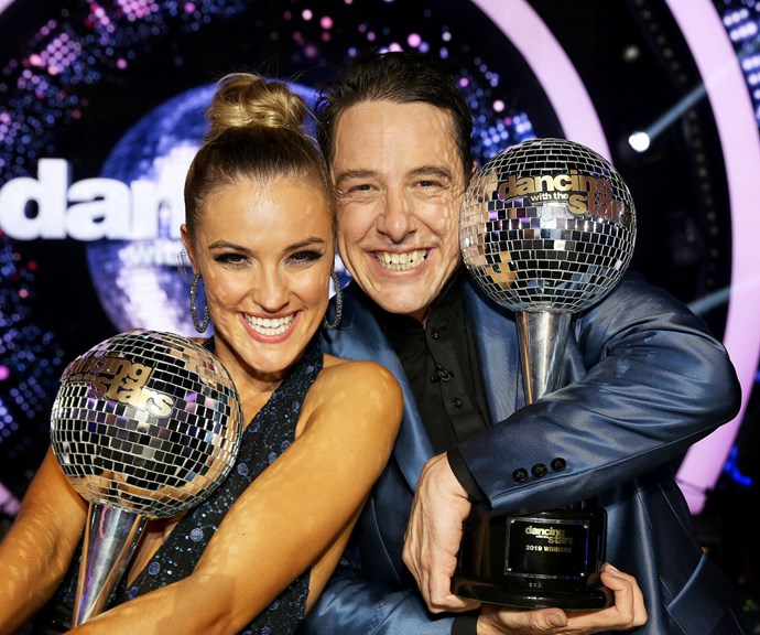 Sam and his dance partner Jorja celebrating with their winner's trophies. *(Image: Channel 10)*