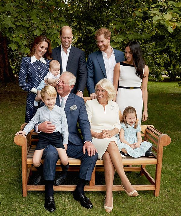 Cheeky! Louis grabbed his granddad's attention quick-smart during the photo shoot with renowned royal photographer, Chris Jackson. *(Image: Getty - Images are part of a set to mark His Royal Highness's 70th birthday.)*