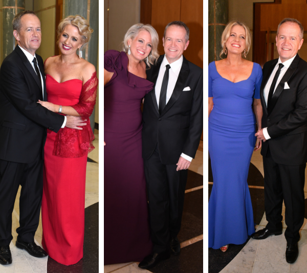 Chloe and Bill Shorten all dressed up for Canberra's annual Midwinter ball. *(Image: Getty)*