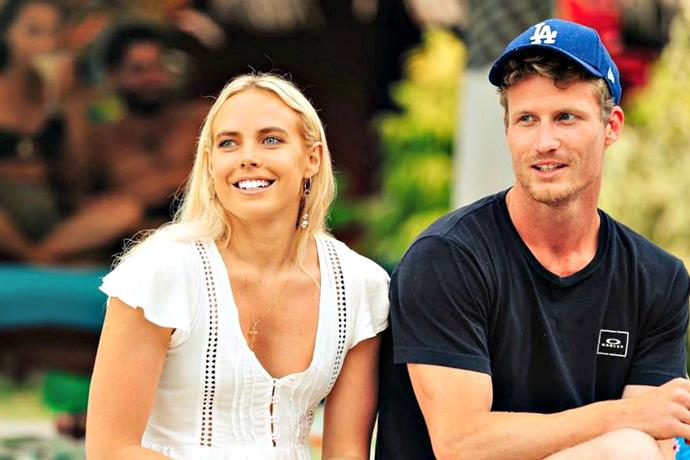 Cass Wood and Richie Strahan on the set of *Bachelor in Paradise*. *(Source: Network Ten)*