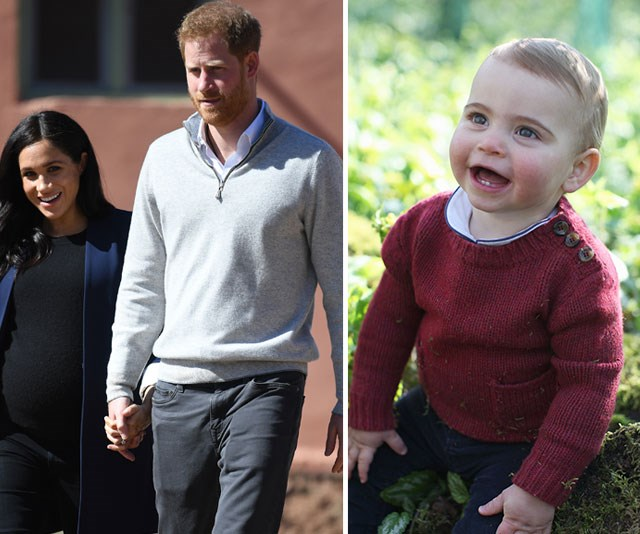 Meghan and Harry took to social media to wish little Louis a happy first birthday. *(Image: Getty, The Duchess of Cambridge via AAP)*