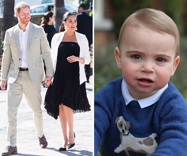 As the world waits for Meghan and Harry's exciting baby news, on Tuesday it was all about this adorable birthday boy. *(Image: Getty, The Duchess of Cambridge via AAP)*