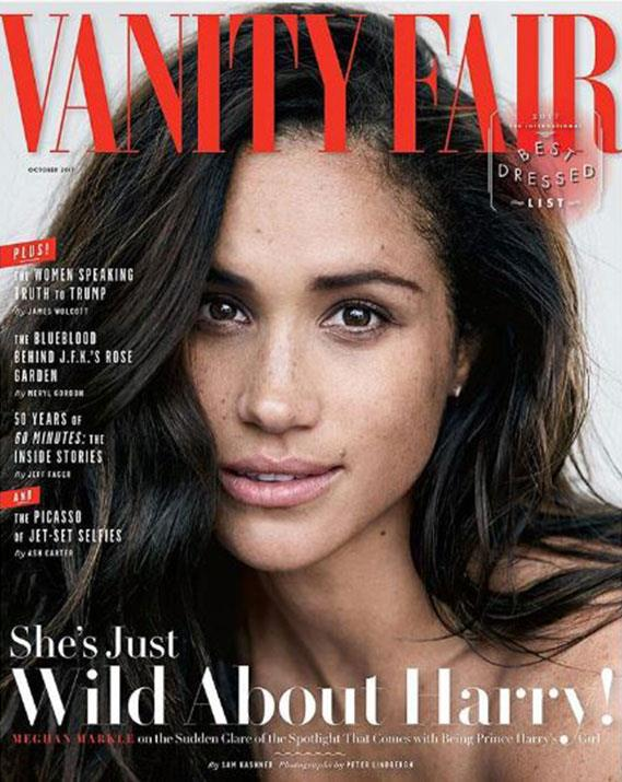 In 2017, just months before her engagement to Harry was confirmed, Meghan starred on the cover of *Vanity Fair*. *(Image: Vanity Fair/Peter lindbergh)*