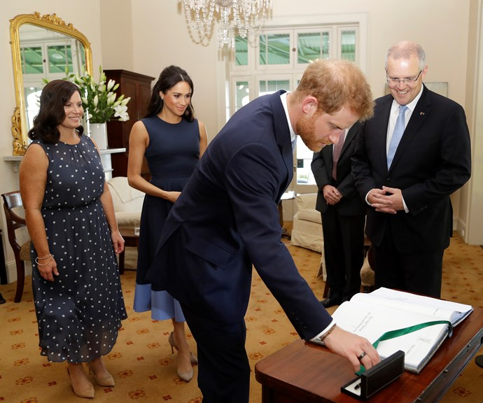 Jenny and Scott Morrison with Duchess Meghan and Prince Harry during their most recent royal tour of Australia. *(Image: Getty)*