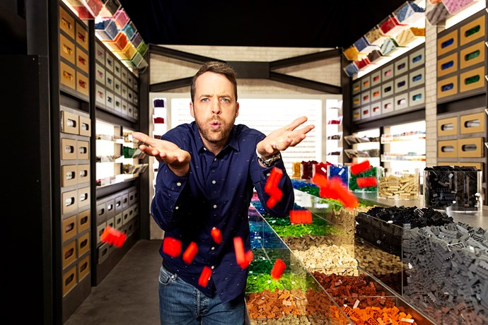 Hamish takes on yet another role as host of LEGO Masters (Image: Nine Network).
