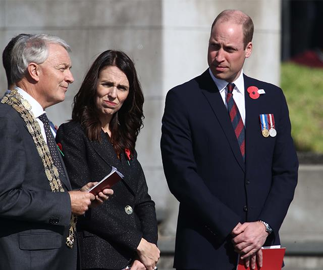 The Prince and Ardern paid their respects to the fallen Anzac soldiers during the service.  *(Image: Getty)*