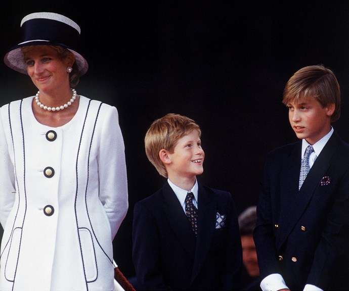 Prince Harry and Prince William pictured with their mother Princess Diana in 1995. *(Image: Getty)*