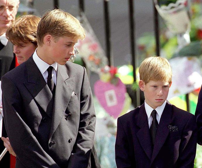 The brothers at their mother's funeral in 1997. *(Image: Getty)*