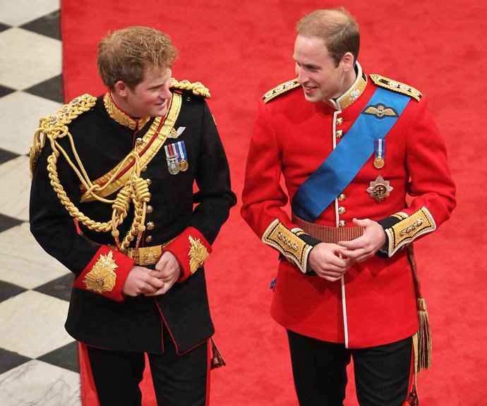 Harry standing by William's side during his 2011 wedding to Duchess Catherine. *(Image: Getty)*