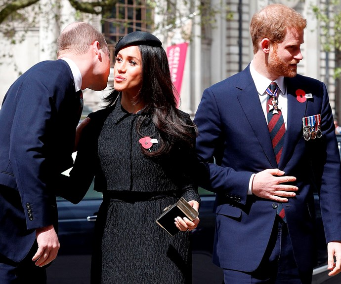 William, Meghan and Harry all together for an official royal engagement. *(Image: Getty)*