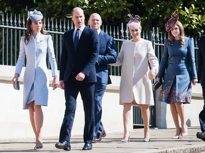 Duchess Catherine and Prince William walk into the church alongside Zara Phillips and her husband Mike Tindall, as well as Princess Beatrice. *(Image: Getty)*