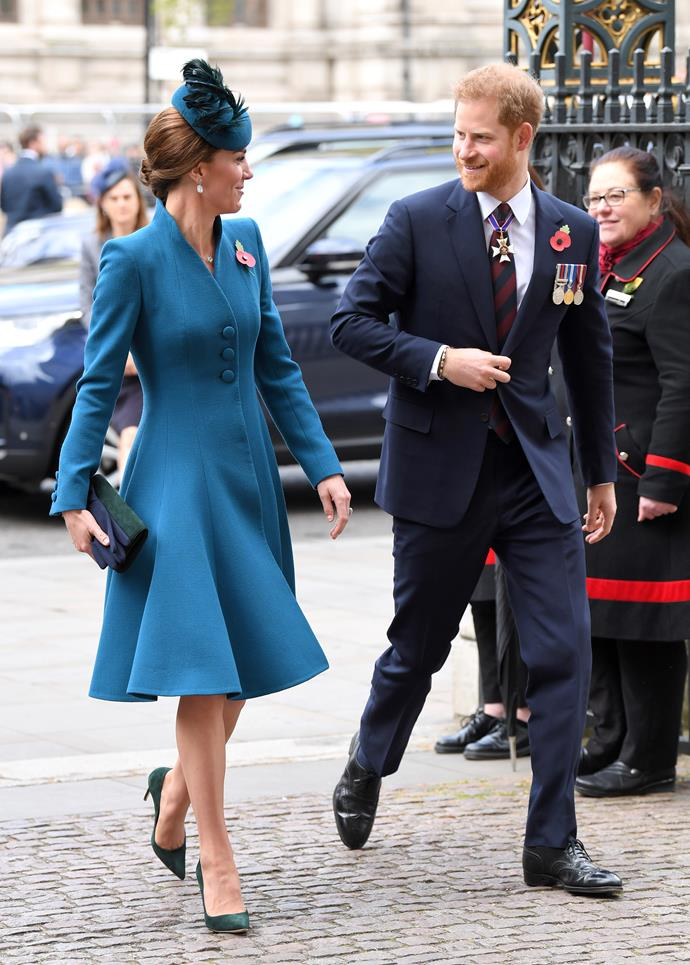 Harry and Kate looked at ease as they entered the service at Westminster Abbey together. *(Image: Getty)*