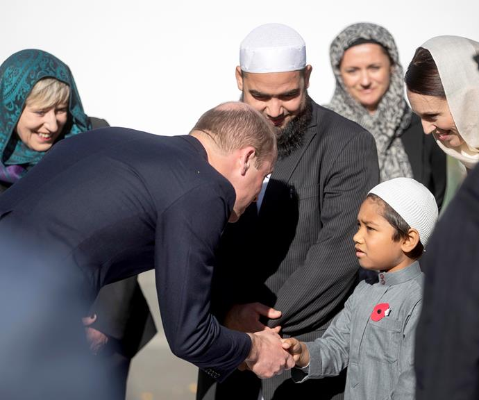 Prince William greeting a young Muslim boy in Christchurch. *(Image: Getty)*