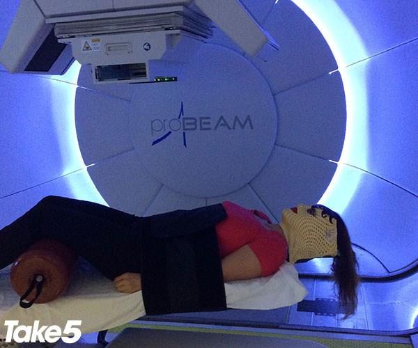 Me undergoing proton therapy.