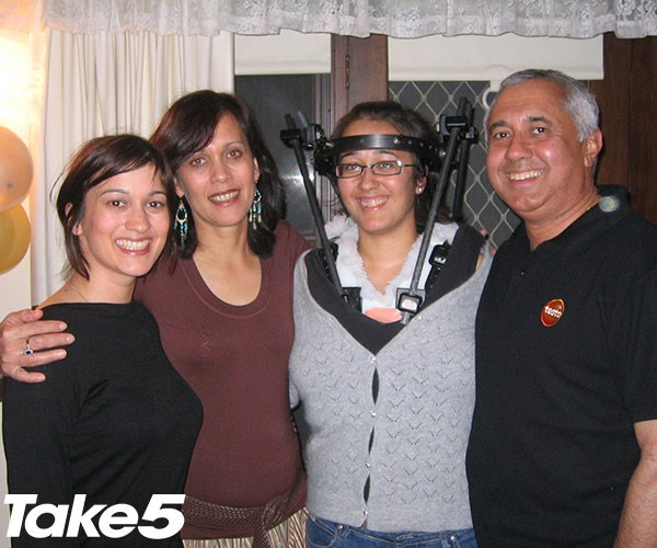 Me with Dad, Mum and Tenille four months after the accident.
