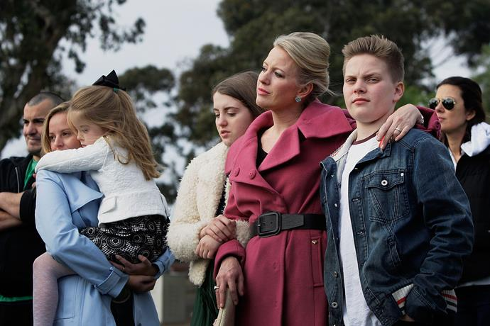 Chloe Shorten with her niece Alexandra, daughter Clementine, daughter Georgette and son Rupert. *(Image: Getty)*