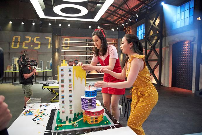 Marielle and Kaitlyn on *LEGO Masters* (Image: Nine Network).
