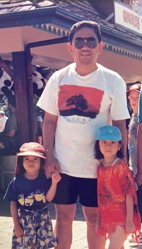 Marielle (right) with her father Efren and sister Alyssa (Image: Supplied).