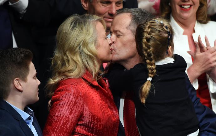 Bill and Chloe Shorten share a sweet moment, as Bill holds the couple's daughter Clementine. *(Image: Getty)*