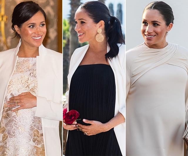 Duchess Meghan stuck to some very simple style rules throughout her pregnancy. *(Images: Getty)*