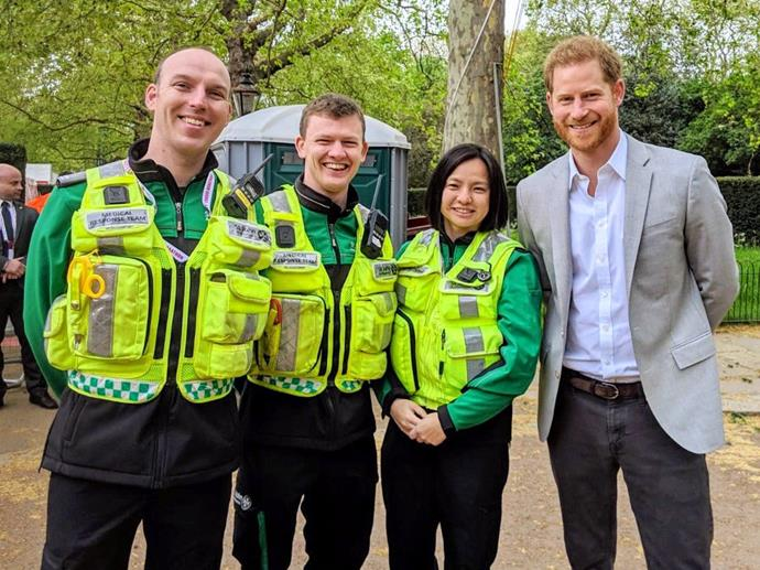 Prince Harry was in attendance at the London Marathon on Sunday, confirming that Baby Sussex had not yet been born. *(Image: Twitter)*