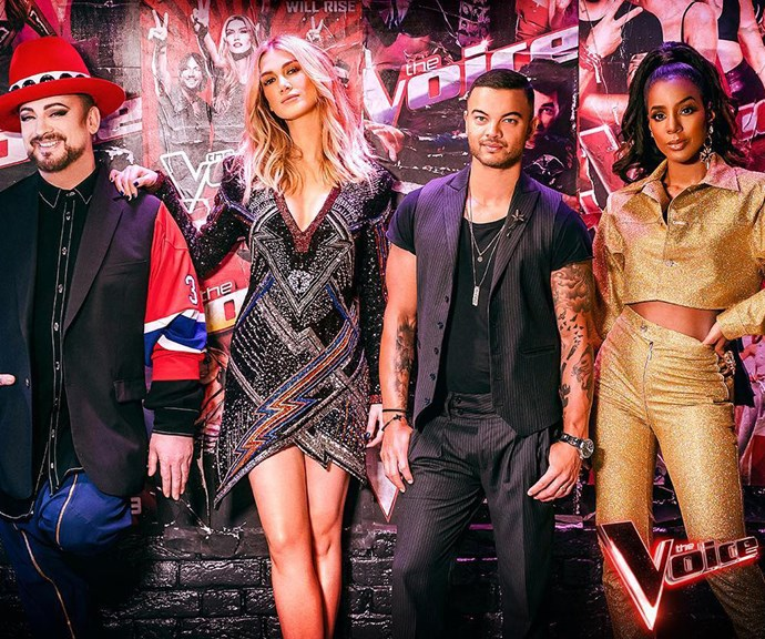The Voice season eight coaches (from left) Boy George, Delta Goodrem, Guy Sebastian and Kelly Rowland. *(Image: @thevoiceau/Instagram)*